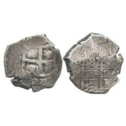 Potosi, Bolivia, cob 8 reales, 1727?Y, (Louis I?).