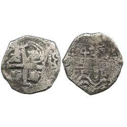 Potosi, Bolivia, cob 4 reales, 1717Y.