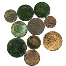 Lot of 10 copper coins (British, French and possibly Scandinavian).