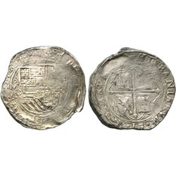 Mexico City, Mexico, cob 8 reales, Philip II, assayer O.