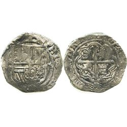 Mexico, cob 4 reales, Philip II, assayer F.