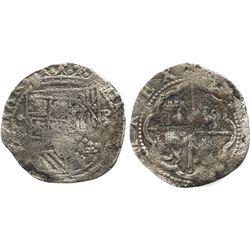 Lima, Peru, cob 2 reales, Philip II, assayer Diego de la Torre, *-(II) to left, P-(oD) to right.