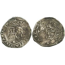 Lima, Peru, cob 1/2 real, Philip II, assayer Diego de la Torre, * below, dot-D to right of monogram.