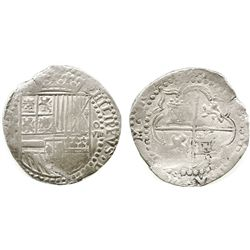 Potosi, Bolivia, cob 8 reales, Philip II, assayer not visible (style of 3rd-period B).