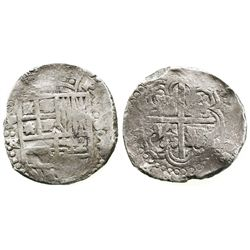 Potosi, Bolivia, cob 8 reales, Philip IV, assayer TR (small, probably 1640s).