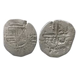 Potosi, Bolivia, cob 2 reales (?), Philip IV, assayer not visible, weight between 1R and 2R.