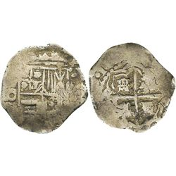 Potosi, Bolivia, cob 1 real, 1651O, rare.