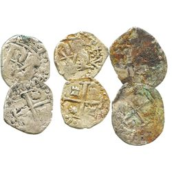 Lot of 3 Potosi, Bolivia, cob 1/2R, Philip IV, assayers T and E.
