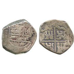 Seville, Spain, cob 8 reales, Philip IV, assayer R, ex-Tunis hoard.