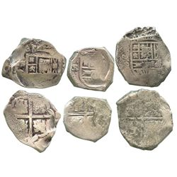 Lot of 3 Seville, Spain, cob 8R, Philip IV, assayer R or not visible, ex-Tunis hoard.