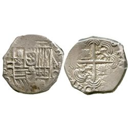 Granada, Spain, cob 2 reales, Philip III, assayer M above mintmark G to right, OMN(IVM) in obverse l