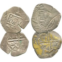 Lot of 2 Toledo, Spain, 2R of Philip II-III: assayer C and not visible.