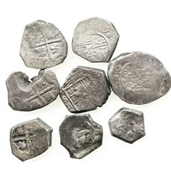 Lot of 8 Spanish (Seville or mints uncertain) cob 2 reales of the 1600s.
