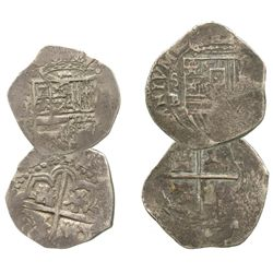 Lot of 2 Seville, Spain, small cobs of Philip II-III: 2R assayer B below S to left, (O)MNIVM in lege