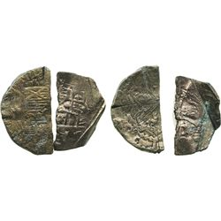 Lot of 2 cut and chopmarked cob 8R of Philip III-IV (one Mexico and one Potosi) as from circulation
