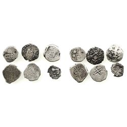 Lot of 6 miscellaneous small silver cobs: 2R Lima 170?H; 2R Potosi 1739E; 2R Potosi 1768(V-Y); 1R Po