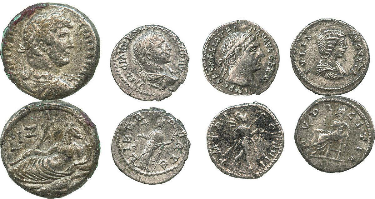Lot of 4 Roman Empire silver coins: 3 denarii of Julia Augusta / Livia (14  AD), Trajan (98-117 AD) a