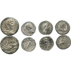 Lot of 4 Roman Empire silver coins: 3 denarii of Julia Augusta / Livia (14 AD), Trajan (98-117 AD) a