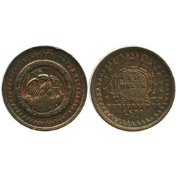 Buenos Aires, Argentina (National Bank), copper 10 decimos, 1830.