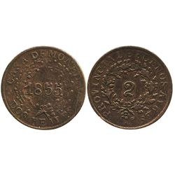 Buenos Aires, Argentina, copper 2 reales, 1855.