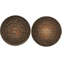 Buenos Aires, Argentina, copper 2 reales, 1861.