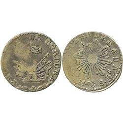 Cordoba, Argentina, 2 reales, 1846, rare one-year subtype with eight-pointed symmetrical sun-rays.