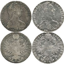 Lot of 2 Austrian 1780 Maria Theresa thaler restrikes, one from the 1800s and one modern.