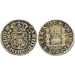 Potosi, Bolivia, pillar 1 real, Charles III, 1769JR (fancy 9).