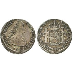 Potosi, Bolivia, bust 1 real, Charles IV, 1808PJ.