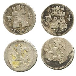 Lot of 2 Potosi, Bolivia, 1/4R, Charles IV, 1799 and 1802.