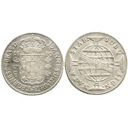 "Brazil (Bahia mint), 960 reis, 1810-B, ""REGENES"" error, struck over a Spanish colonial bust 8R."