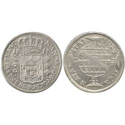 "Brazil (Bahia mint), 960 reis, 1813-B, ""REGENES"" error, struck over a Spanish colonial bust 8R."
