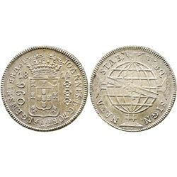Brazil (mint uncertain), 960 reis, 1814, struck over a Spanish colonial bust 8 reales of Charles IV.