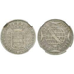 Brazil (struck in Lisbon), 640 reis, 1787, flat-arch crown, encapsulated NGC VF 25.