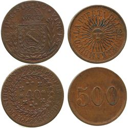 "Lot of 2 Brazilian coppers: 40 reis, Peter I, 1828; and a Pernambuco ""sunface"" token for ""500."""