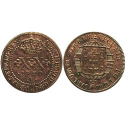 Brazil (Rio mint), copper 20 reis, 1820-R.