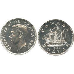 Canada, 1 dollar, George VI, 1949, encapsulated NGC MS 63.
