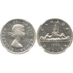 Canada, 1 dollar, Elizabeth II, 1959, encapsulated NGC MS 62.