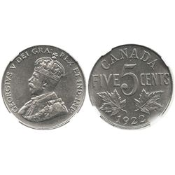 Canada, 5 cents, George V, 1922, encapsulated NGC AU 55.