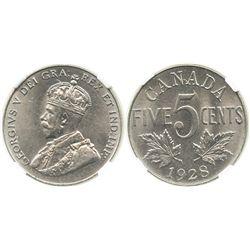 Canada, 5 cents, George V, 1928, encapsulated NGC AU 58.