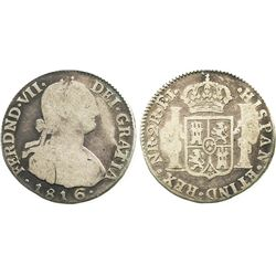 Bogota, Colombia, bust 2 reales, Ferdinand VII (bust of Charles IV), 1816FJ/JJ.