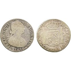 Bogota, Colombia, bust 2 reales, Ferdinand VII (bust of Charles IV), 1819FJ (normal date).