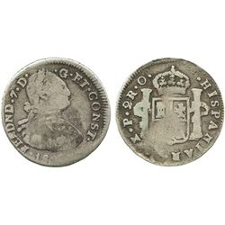 Pasto, Colombia, bust 2 reales, Ferdinand VII (bust of Charles IV), 1822O, dot after CONST, scarce.
