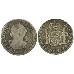 Bogota, Colombia, bust 1 real, Charles III, 1773VJ. Scarce.