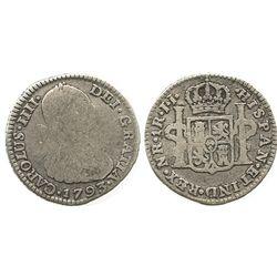 Bogota, Colombia, bust 1 real, Charles IV, 1793JJ.