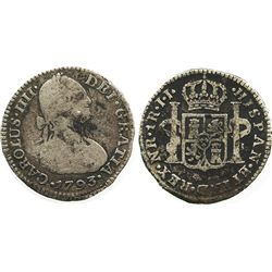 Bogota, Colombia, bust 1 real, Charles IV, 1793JJ, no dot in mintmark.