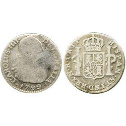 Bogota, Colombia, bust 1 real, Charles IV, 1799JJ.