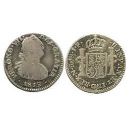Bogota, Colombia, bust 1 real, Ferdinand VII (bust of Charles IV), 1812JF, re-engraved bust.