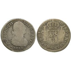 Bogota, Colombia, bust 1 real, Ferdinand VII (bust of Charles IV), 1816FJ.