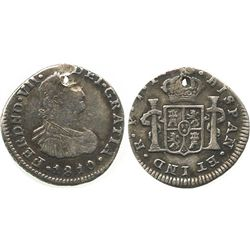 Popayan, Colombia, 1/2 real, Ferdinand VII (bust of Charles IV), 1810JF.